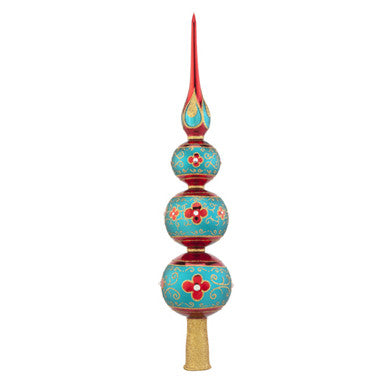 Radko FINIAL Luxurious Tree Topper Teal & Red NEW