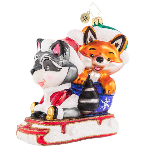 Christopher Radko Race You To The Den! Fox & Friends ornament