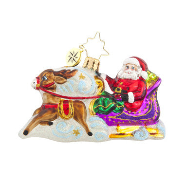 Radko Little Gems MAGIC JOURNEY Santa Purple Sleigh ornament NEW