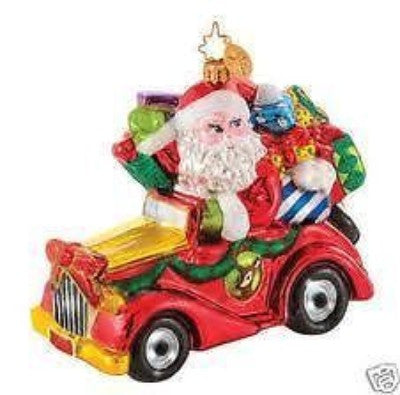 Radko LITTLE GEMS Merry Travels Santa Car Gem Ornament NEW