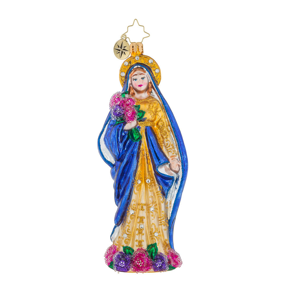 Christopher Radko MIRACLE OF THE ROSES Mother Mary Ornament NEW