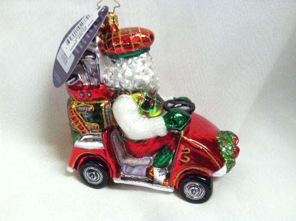 Radko ON PAR Santa Golf Cart Christmas ornament NEW