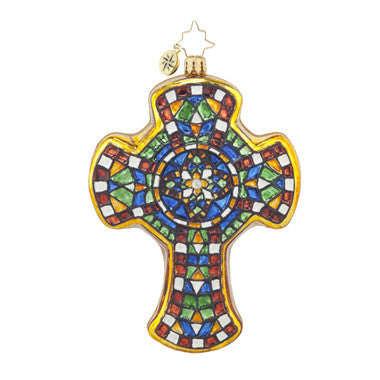 Radko MOSAIC MASTERPIECE Cross Ornament New
