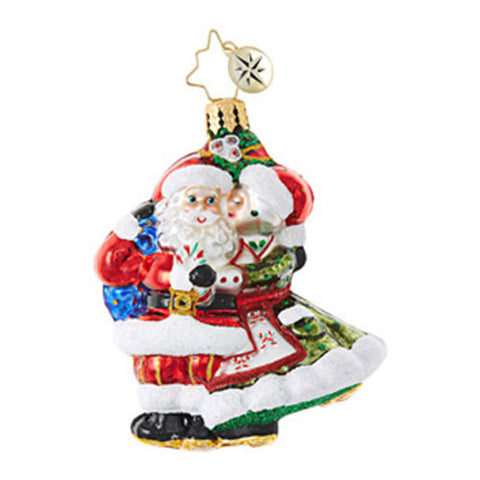Christopher Radko Mr & Mrs Mistletoe Little Gem Couple Ornament New