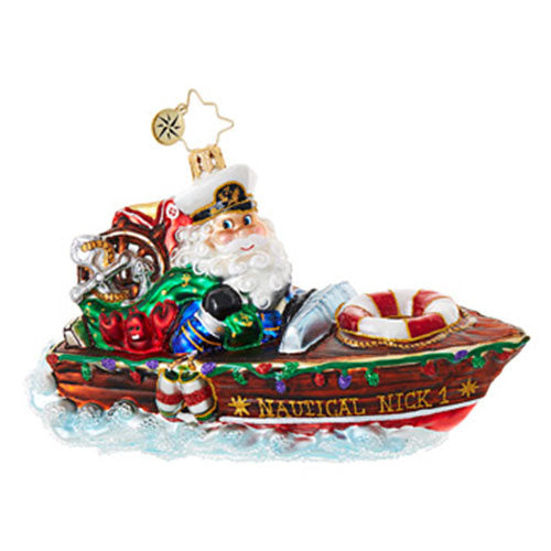 Christopher Radko NAUTICAL NICK Santa Boat ornament New