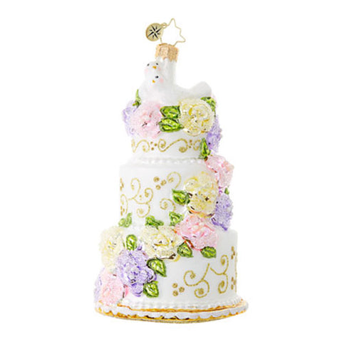Christopher Radko Newlywed Sweets Wedding Cake Ornament