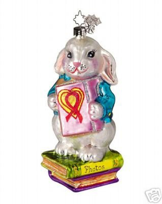 Radko AIDS 2005 Shy Rabbit's Heart Orrnament NEW