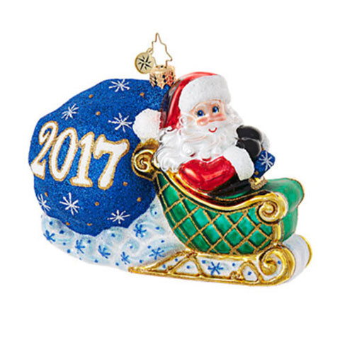 Radko 2017 Dated NO LOOKING BACK Santa Sleigh Ornament (Pre-Order 2017)