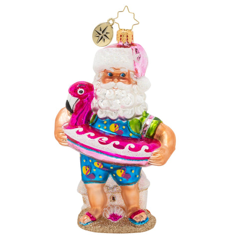 Christopher Radko Out Of The Office Beach Santa Ornament