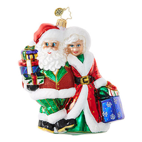 Radko OUT SHOPPING Couple Santa and Mrs Ornament NEW 2017