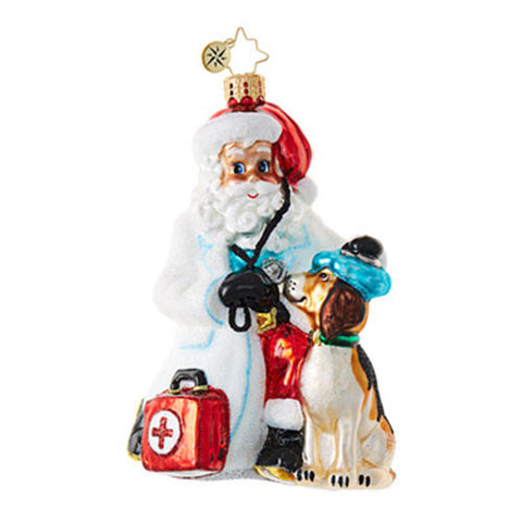Radko PAGING DR CLAUS Doctor Vet Santa Ornament NEW 2017