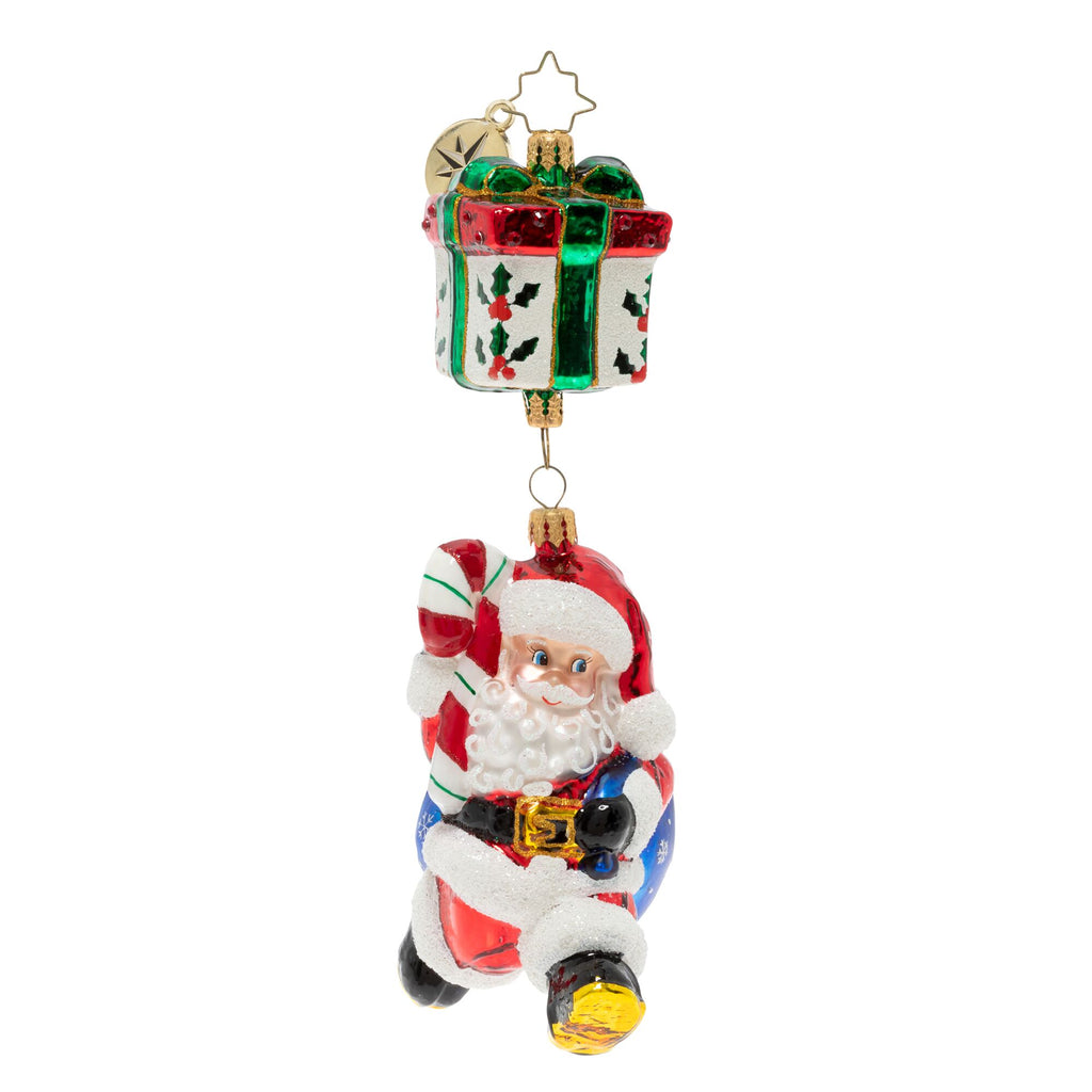 Christopher Radko A Parachuting Present Santa Ornament