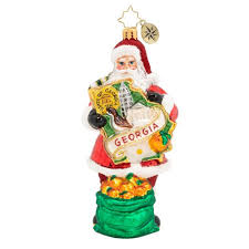 Christopher Radko Peachy Keen On Georgia Santa Ornament