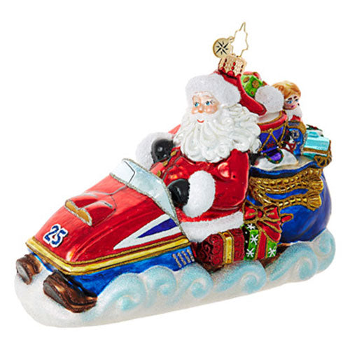 Radko Pedal to the Metal Snowmobile Santa ornament NEW