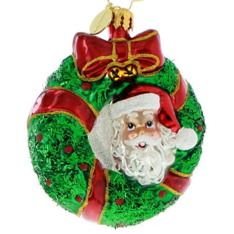 Christopher Radko Peek A Boo GEM Santa Wreath ornament