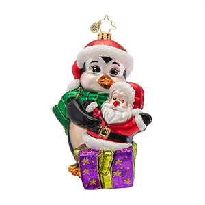Radko PENNYS TREASURE Penny Penguin Santa ornament NEW