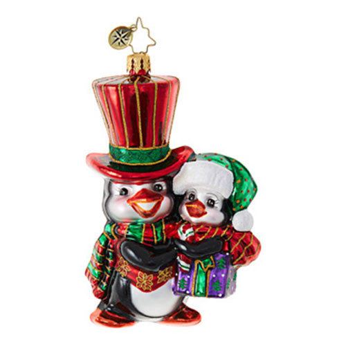 Radko PERFECT TOGETHER Penguin kids Ornament New