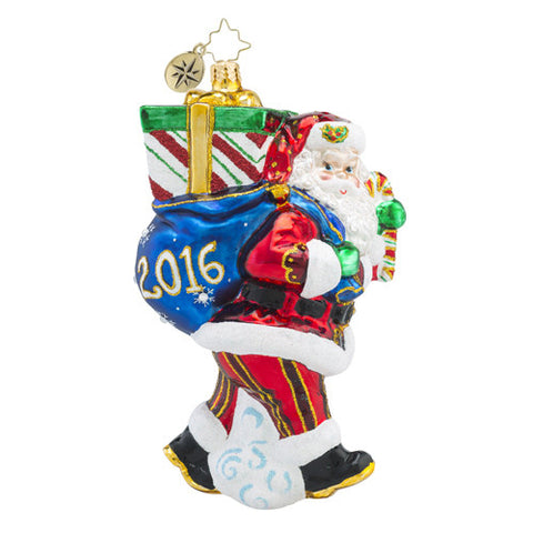Christopher Radko DATED 2016 Perfect Timing Santa Christmas Ornament