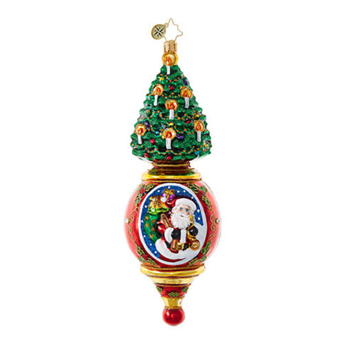 Christopher Radko Pink Pendulum Santa Drop Christmas ornament