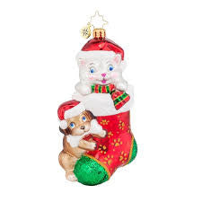 Radko PIP AND PAW Dog Cat Charity Christmas ornament NEW