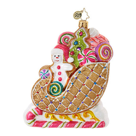 Radko POSITIVELY TASTY Gingerbread Sleigh ornament NEW