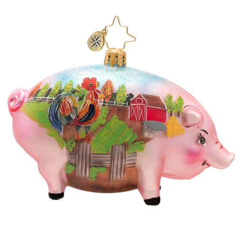 Radko Pig Postcard from the Farm Christmas ornament NEW
