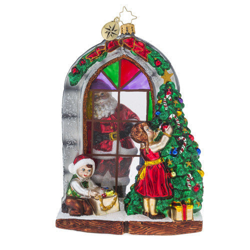 Radko PREPARING FOR CHRISTMAS Santa Window ornament New
