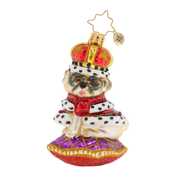 Christopher Radko Kingly Mr. Pug Dog Gem Ornament
