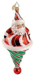 Radko ROLY POLY TWIST Santa ornament NEW