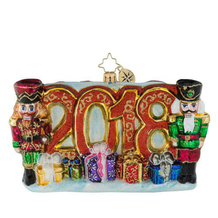 Christopher Radko  2018 Dated A Very Nutty Year Nutcracker Ornament