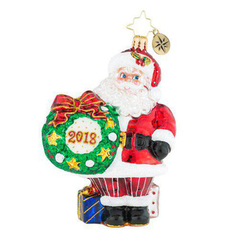Christopher Radko  2018 Dated Making The Rounds Santa Ornament