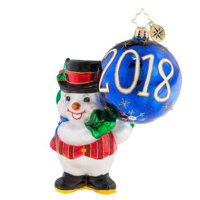 Christopher Radko Dated 2018 Was a Ball! Snowman Ornament