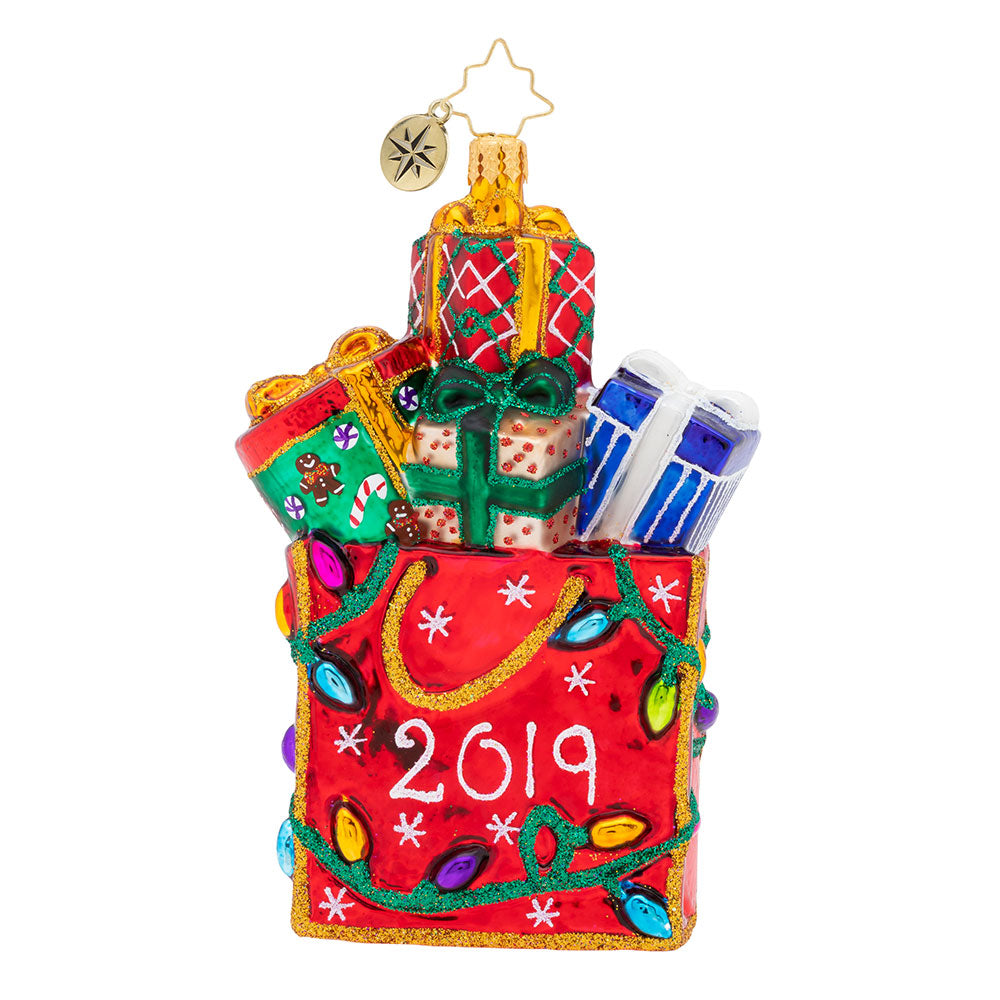 Christopher Radko 2019 Dated Goodie Bag Shopping Ornament