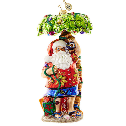 Christopher Radko CLAUS IN PARADISE Hawaiian Santa Ornament New