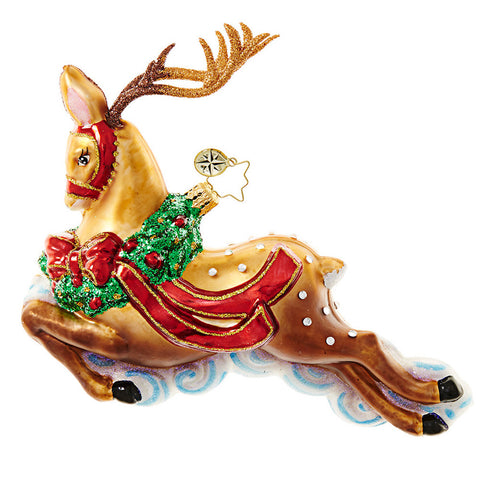 Radko RIDING HIGH Reindeer Christmas ornament NEW