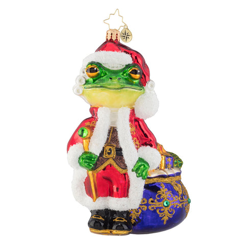 Christopher Radko A Froggy Santa Frog Ornament 50% off Sale