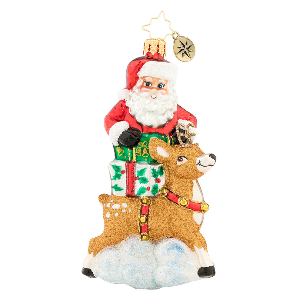 Christopher Radko A Santa Surprise Reindeer Ornament