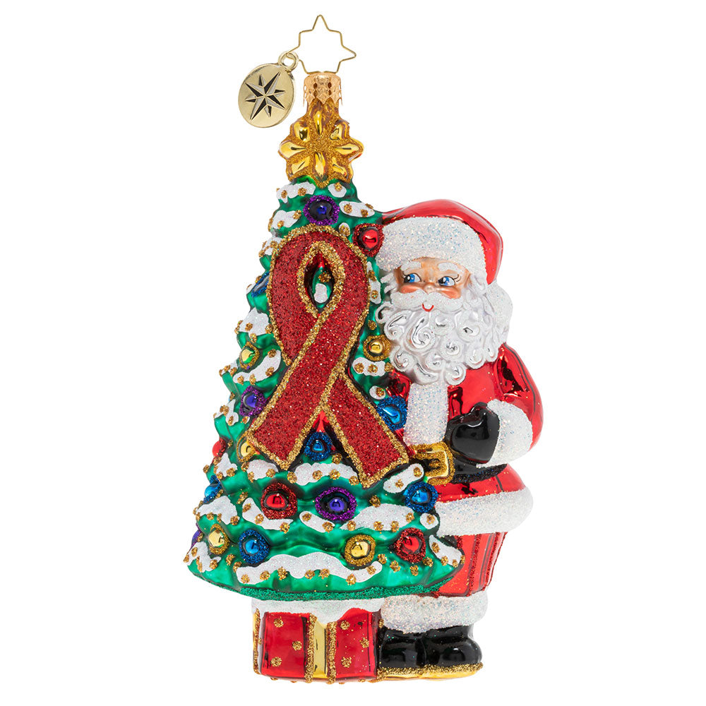 Christopher Radko AIDS 2019 Awareness Christmas Tree Santa Ornament