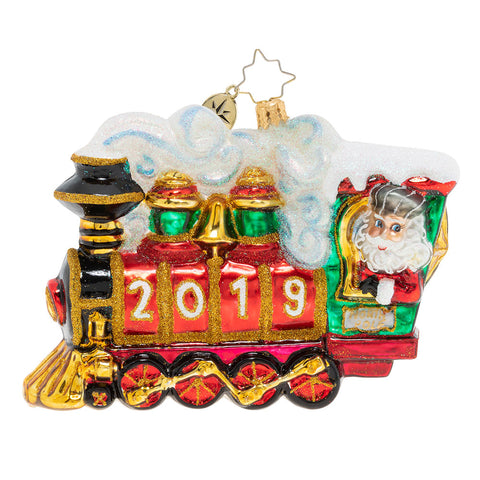 Christopher Radko Dated 2019 All Aboard! 2019 Train Ornament