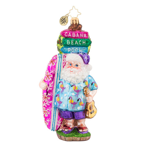 Christopher Radko Aloha Santa! Surfer Hawaiian Ornament