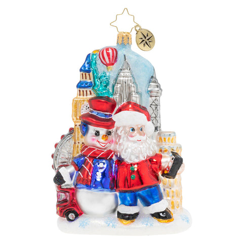 Christopher Radko Around The World Selfie Santa Ornament
