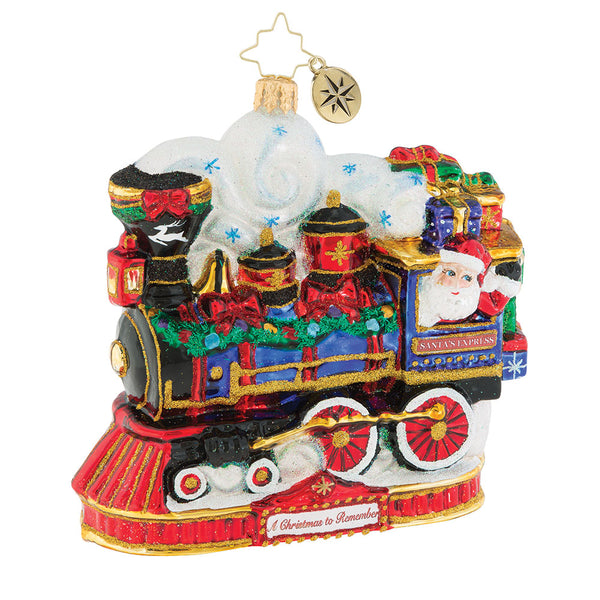 Christopher Radko ARRIVING ON TIME Train Ornament 2018 OOTM