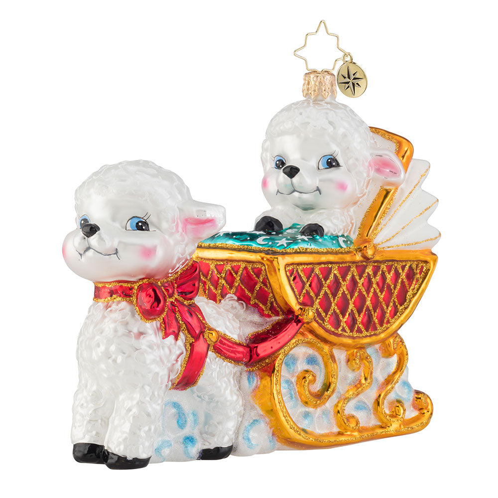 Christopher Radko Baby Lamb Sleigh Ride Ornament