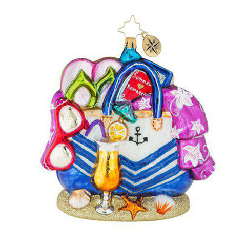 Christopher Radko Beach Bag Bounty Ornament NEW