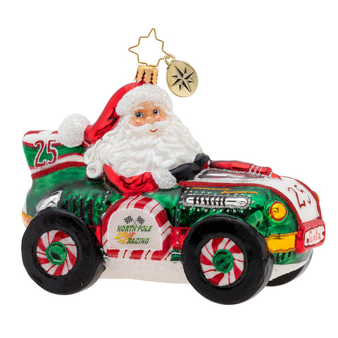 Christopher Radko Burning Rubber Racer Race Car Ornament