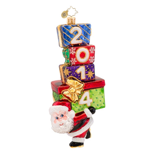 Christopher Radko Dated 2014 Carrying in the Year Santa Ornament