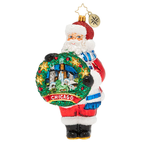 Christopher Radko Celebrate CHICAGO State Santa ornament