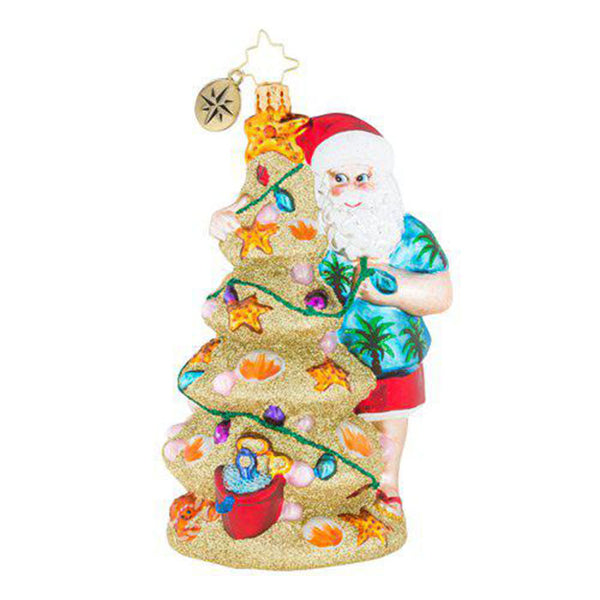 Christopher Radko Christmas In The Sand Santa Beach Ornament