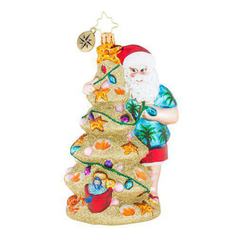 Christopher Radko Christmas In The Sand Santa Beach Ornament New 2018