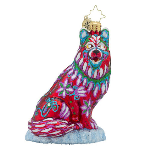 Radko Colorful Husky Dog Christmas Ornament New